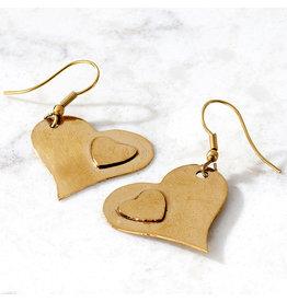 Noah's Ark Heart to Heart Brass Earrings