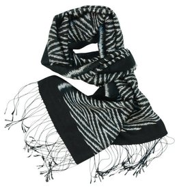 Phon Tong Handicraft Co-op Black & White Ikat Silk Scarf