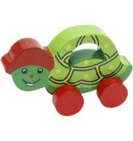 Golden Palm International Push and Crawl Wooden Turtle