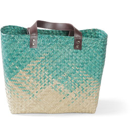 Mai Vietnamese Handicrafts Teal Seagrass Bag