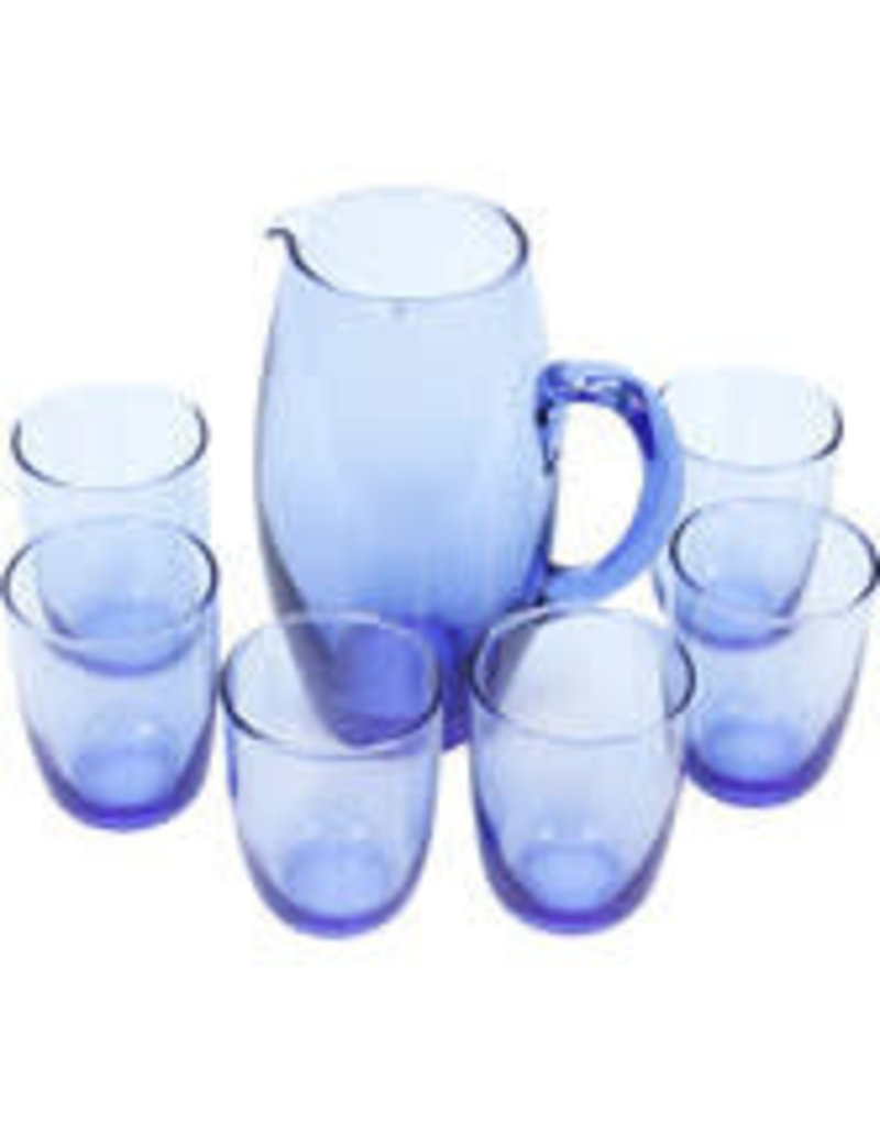 Crisil Srl Translucent Blue Glass and Pitcher