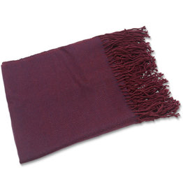 Allpa Burgundy Fringed Alpaca Throw