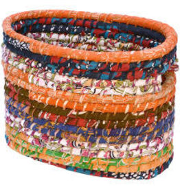 Prokritee Narrow Oval Recycled Sari Basket