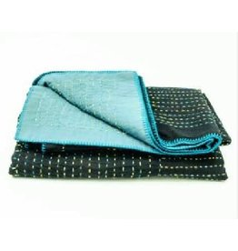 Prokritee Teal and Black Kantha Stitched Throw