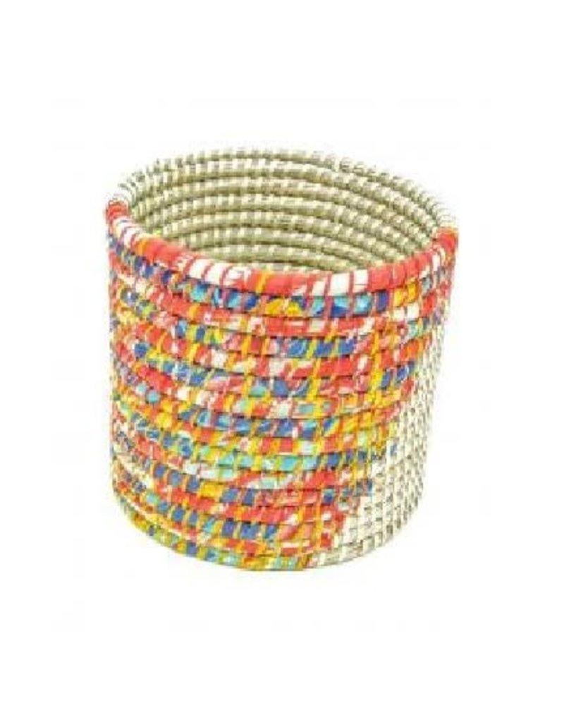 Prokritee Recycled Sari/Kaisa Round Basket Small