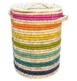 Dhaka Handicrafts Rainbow Bright Kaisa Grass Hamper
