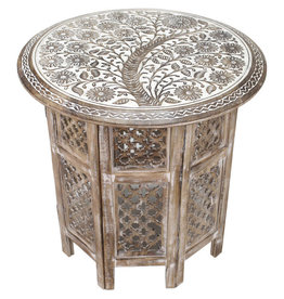 Asha Handicrafts Handcarved Mangowood End Table