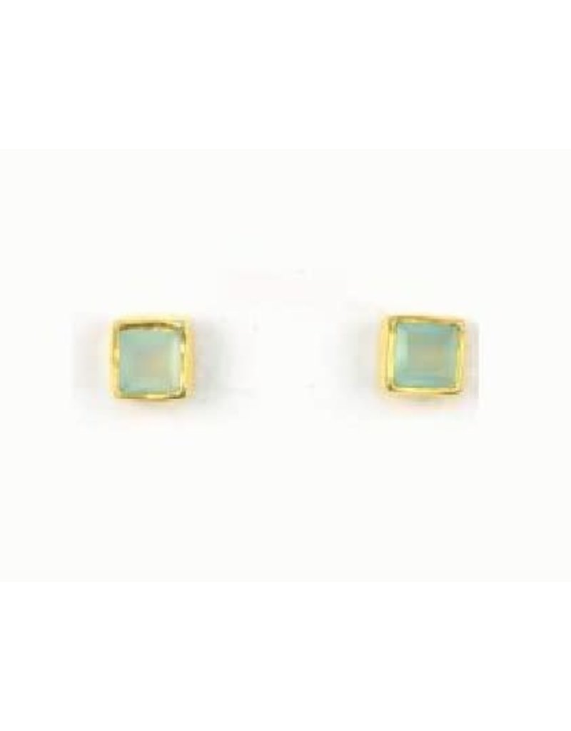 Asha Handicrafts Green Glass Stud Earrings