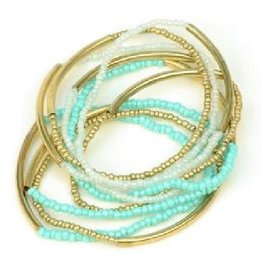 Asha Handicrafts Aqua Beads Multi-strand Bracelet
