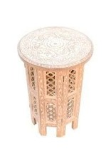 Asha Handicrafts Whitewashed Jali Side Table
