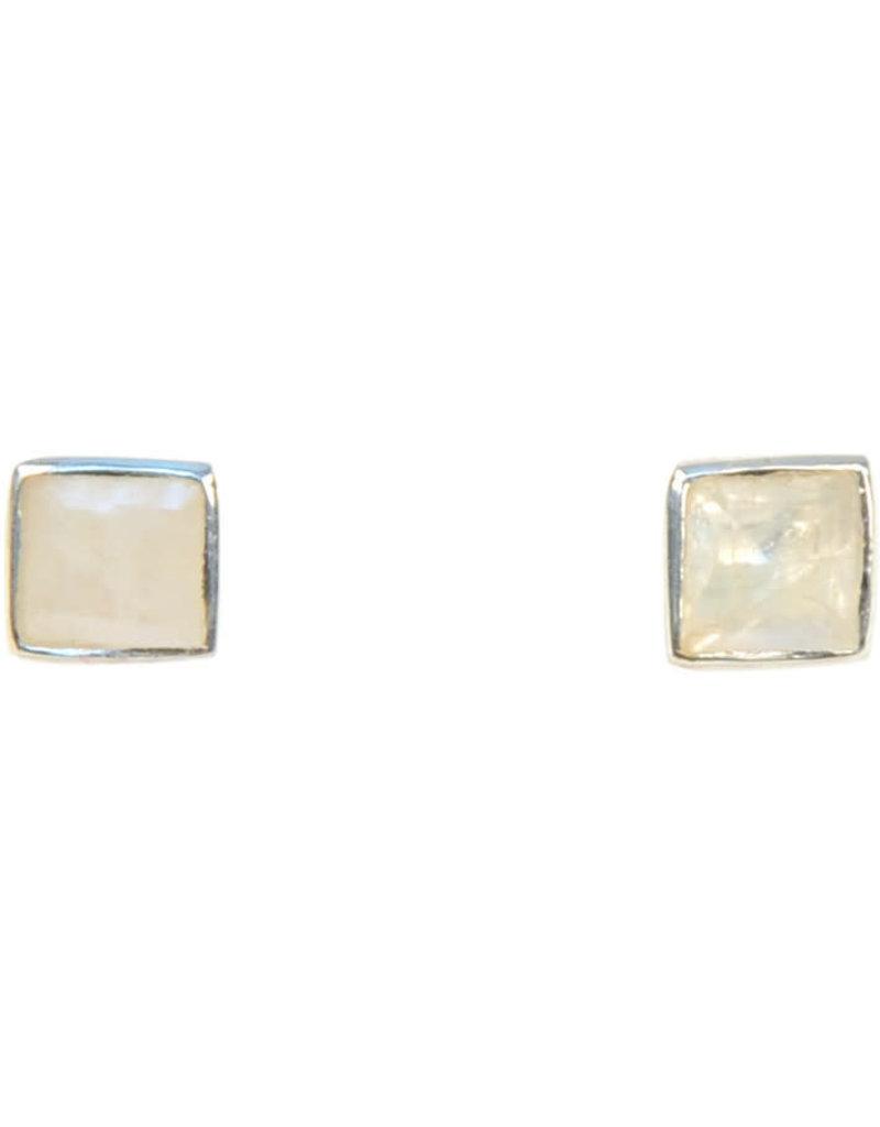 Asha Handicrafts Moonstone Post Earrings