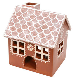 Corr the Jute Works Terra Cotta Gingerbread House Candle Holder (LRG)