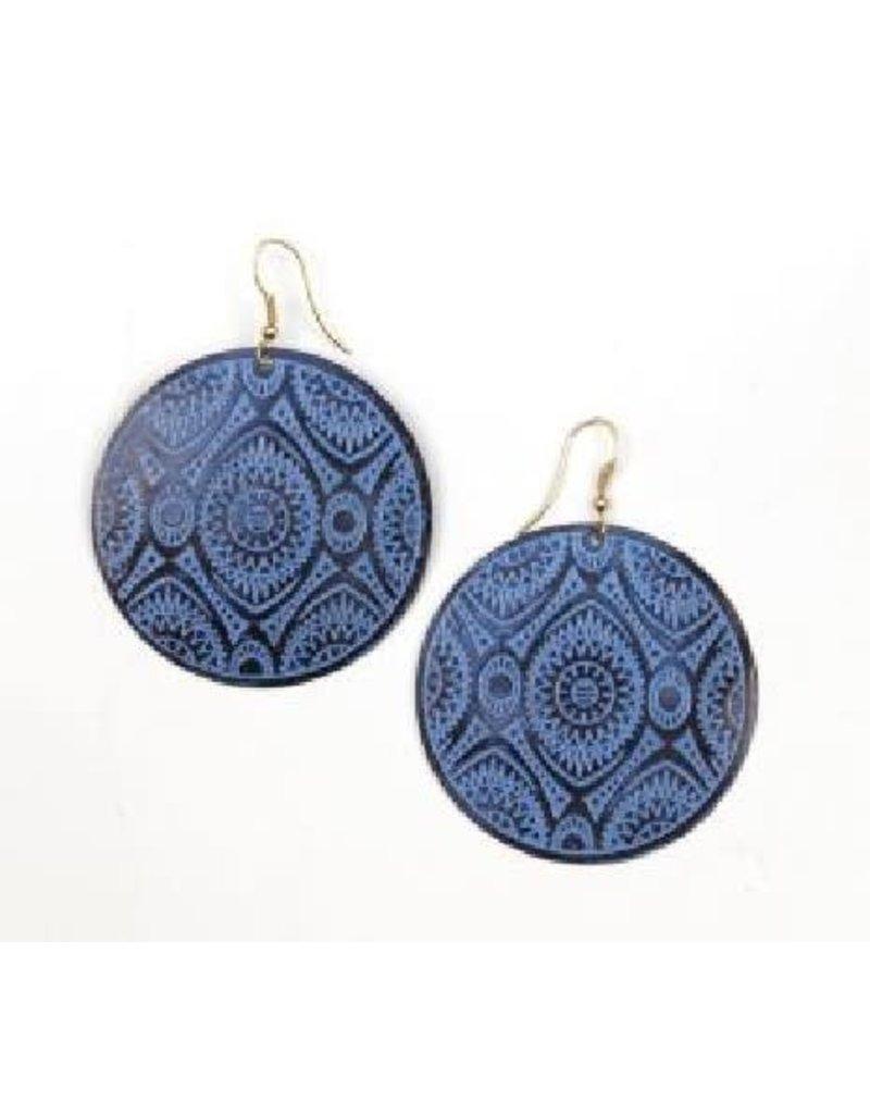 Asha Handicrafts Blue Geometric Disk Earrings