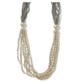 Asha Handicrafts Grey Glass Beaded Necklace