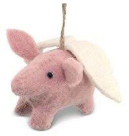 Asha Handicrafts Pink Flying Pig Ornament