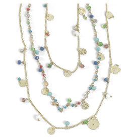 Asha Handicrafts Three Strand Beaded Necklace