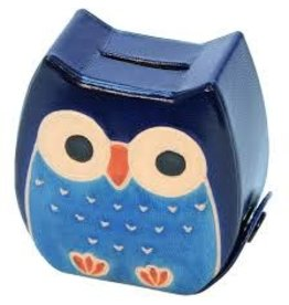 Sasha Association for Crafts Producers Chubby Owl Money Bank (Blue)