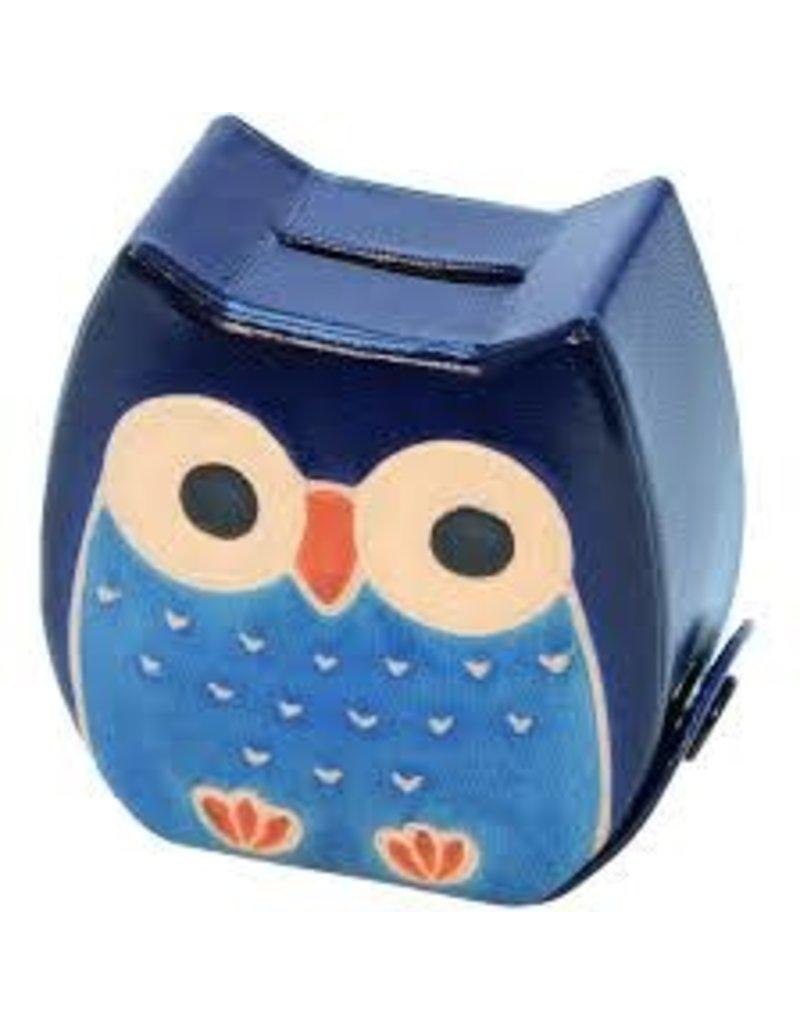 Sasha Association for Crafts Producers Chubby Owl Money Bank (Blue)