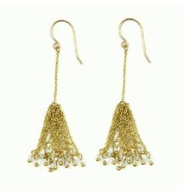 Sasha Association for Crafts Producers Brass Tassel Chandelier Earrings