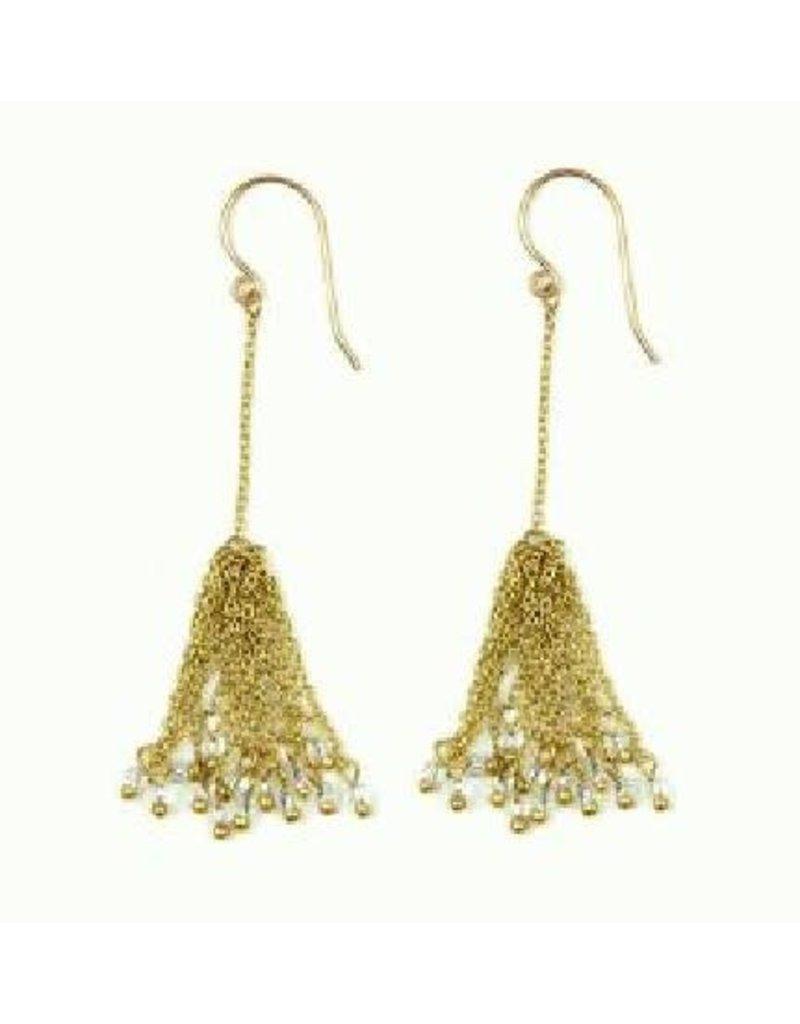 Sasha Association for Crafts Producers Brass Tassel Chandelier Earrings