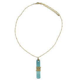 Sasha Association for Crafts Producers Turquoise Metal and Bone Necklace