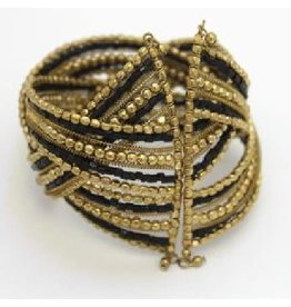 Sasha Association for Crafts Producers Black and Gold Beaded Cuff