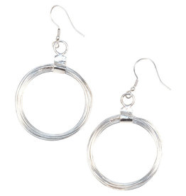 Noah's Ark Silver Wired Hoop Earrings