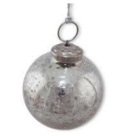 Noah's Ark Silver Crackle Glass Ornament