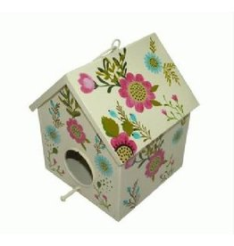 Noah's Ark White Metal Birdhouse with Flowers