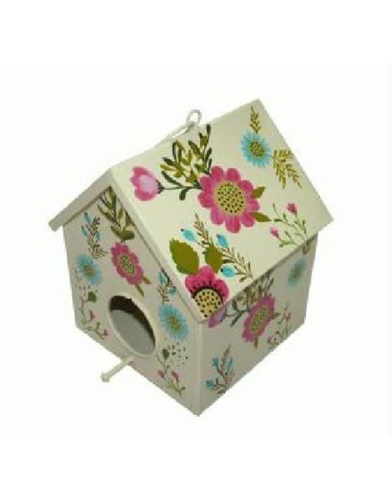 Noah's Ark White Metal Birdhouse with Flowers