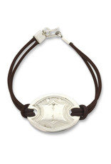 Union of Peasants for Self Development Leather Bracelet with Silver Disk (Brown)