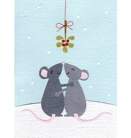Good Paper Mistletoe Mice Holiday Card