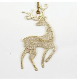 Pekerti Nusantara Golden Filigree Deer Ornament