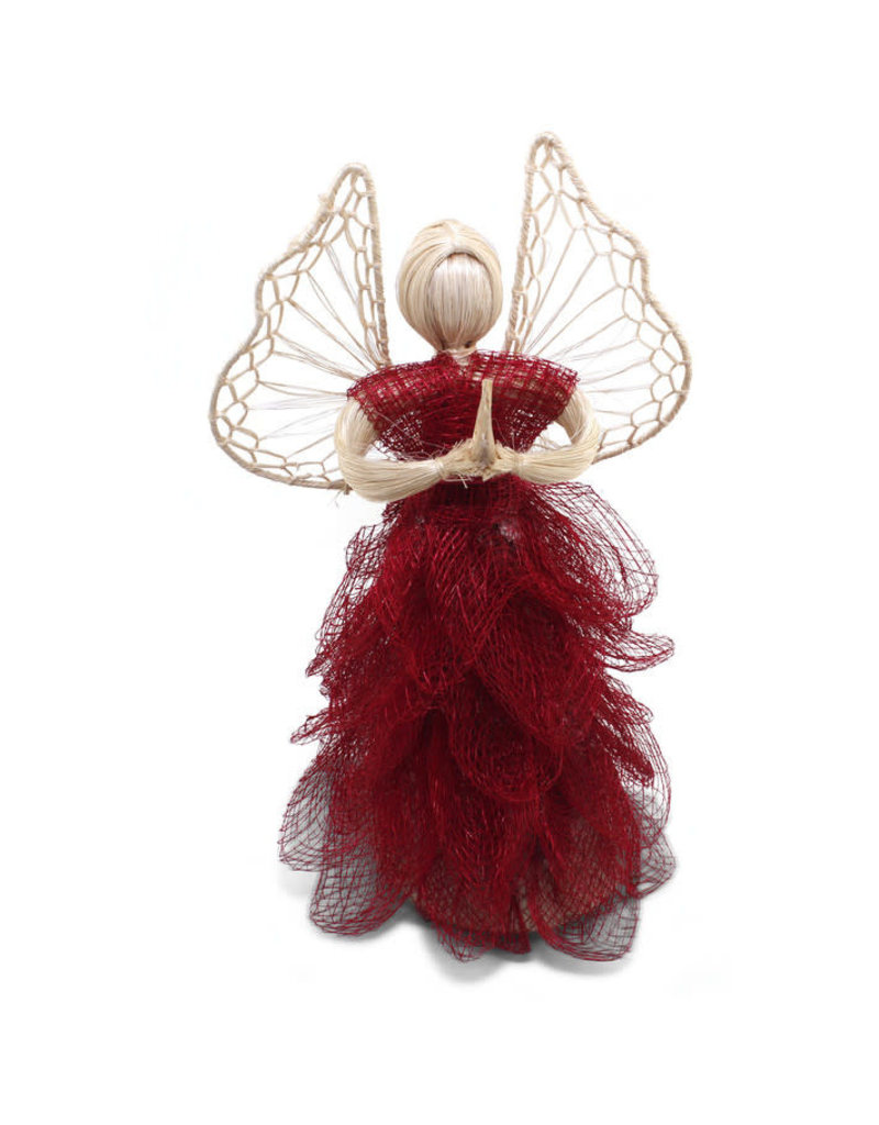 Community Crafts Association of the Philippines Red Abaca Sinamay Angel (Large)