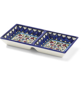 Hebron Glass Wild Flowers Ceramic Double Tray