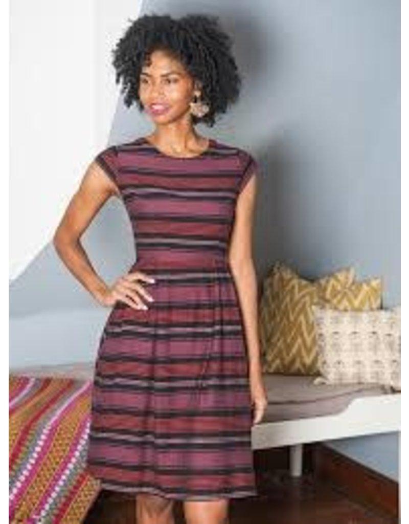 Mata Traders Devonshire Plum Striped Dress