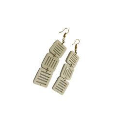 Asha Handicrafts Three Square Jali Bone Earrings