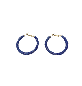 Sasha Association for Crafts Producers Blue Glass Beaded Hoop Earrings