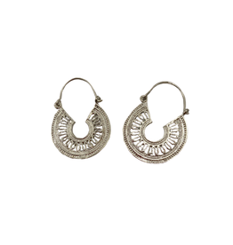 Sasha Association for Crafts Producers Silver Filigree Hooped Earrings