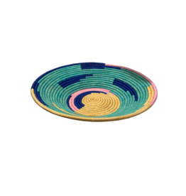 Uganda Crafts 2000 Ltd. Teal Rafia Coiled Basket