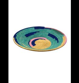 Uganda Crafts 2000 Ltd. Teal Rafia Coiled Basket