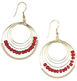 Sasha Association for Crafts Producers Tangerine Blaze Hoops Earrings