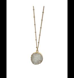 Sasha Association for Crafts Producers White Stone Pendant Necklace
