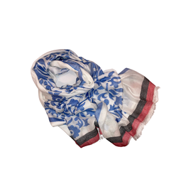 Craft Resource Center Blue Floral Scarf