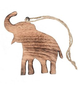 Mira Fair Trade Mangowood Elephant Ornament