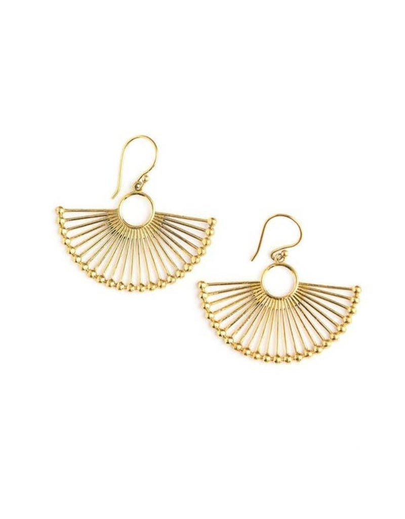 Fair Anita Brass Palm Leaf Earrings