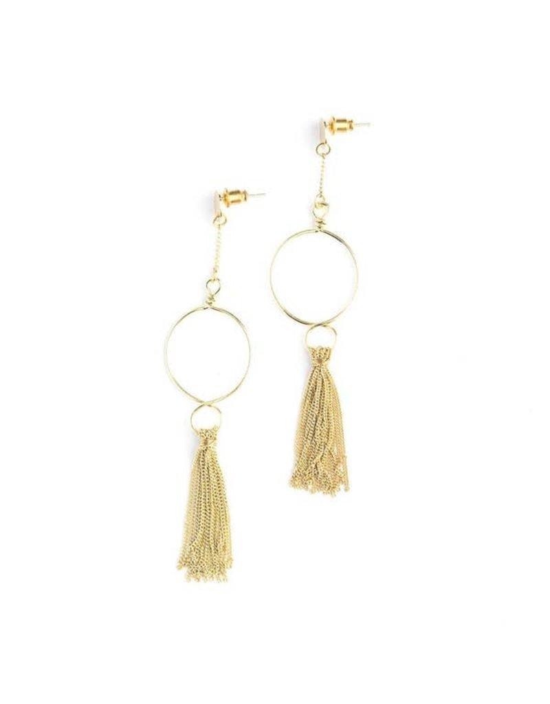 Fair Anita Hoop and Tassel Earrings