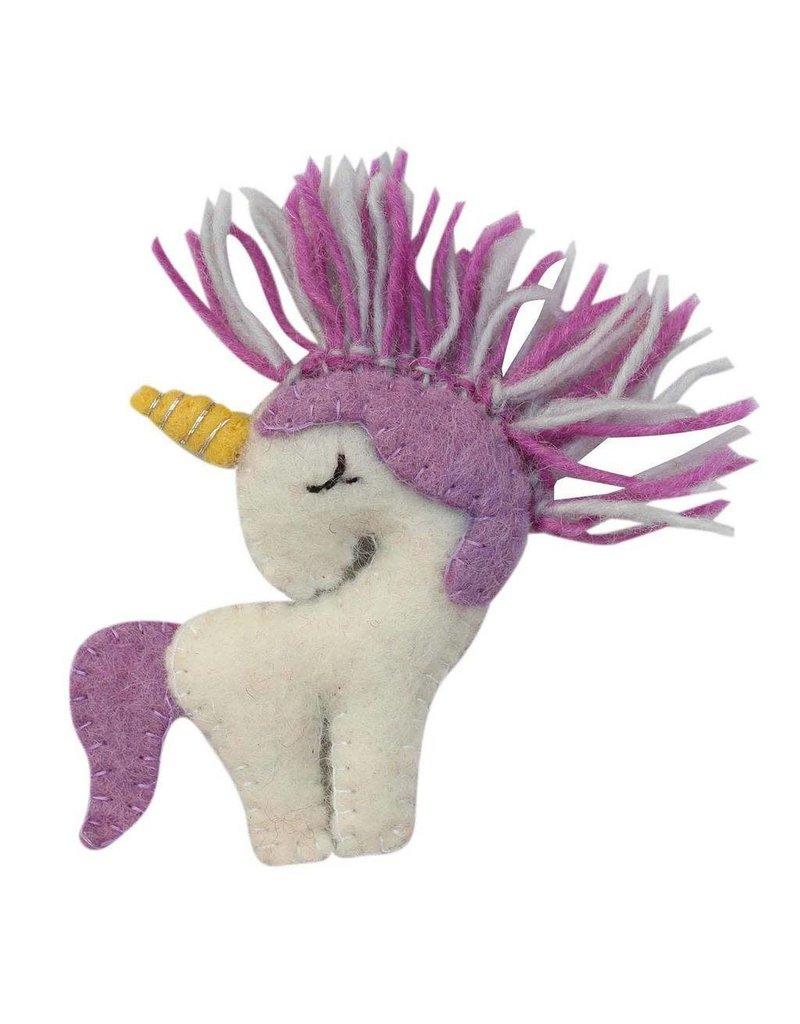 Global Groove Felted Purple Unicorn Ornament