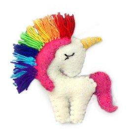 Global Groove Felted Rainbow Unicorn Ornament