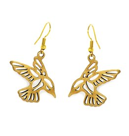 Artisana Gold Tumbaga Bird Earrings